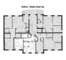 Veřejná dobrovolná dražba bytu v klidné oblasti Praha-západ - nákres bytu